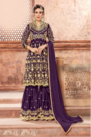 Purple Satin Georgette Salwar Kameez