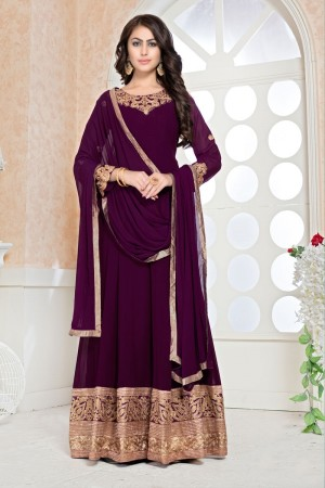 Purple faux Georgette Salwar Kameez
