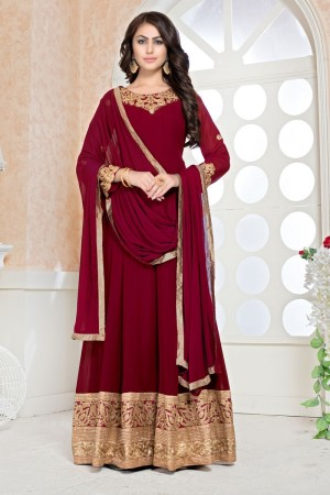 Red faux Georgette Salwar Kameez
