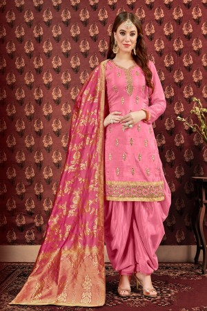 Pink Pure Viscose Upada Dhoti Suit