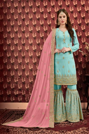 Sky Blue Faux Georgette Sharara Suit