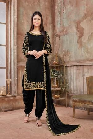Black Art Silk Dhoti Suit