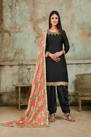 Black Tanchoi Satin Dhoti Suit