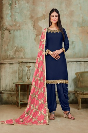 Blue Tanchoi Satin Dhoti Suit