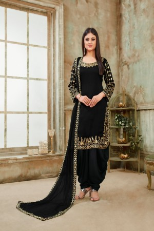 Black Art Silk Dhoti Suit