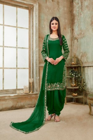 Green Art Silk Dhoti Suit