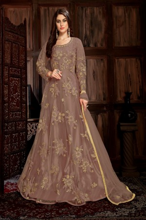 Brown Net Anarkali Suit