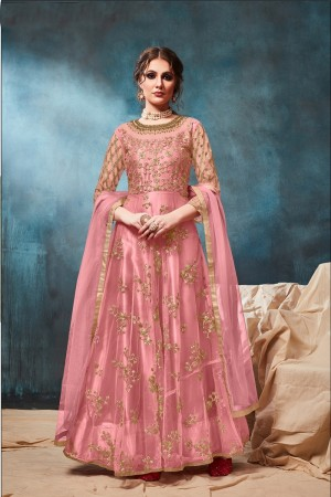 Light Pink Net Anarkali Suit