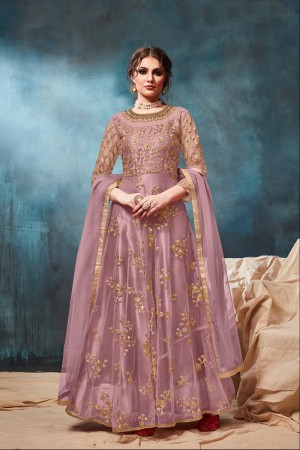 Light Purple Net Anarkali Suit