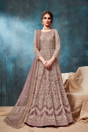 Light Brown Net Anarkali Suit