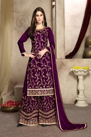 Purple Pure Viscose Upada silk Plaazo Suit