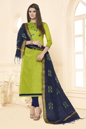 Parrot green Long slub( cotton) dress material