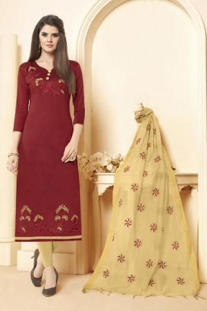 Maroon Long slub( cotton) dress material