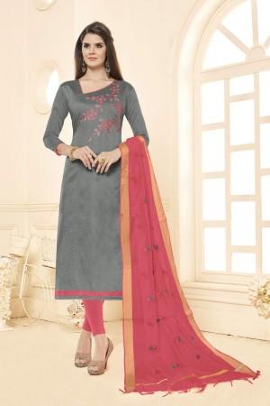 Grey Long slub( cotton) dress material