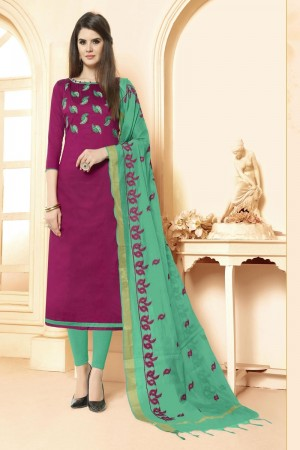 Rani pink Long slub( cotton) dress material