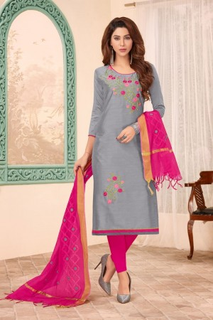 Grey Slub Cotton dress material