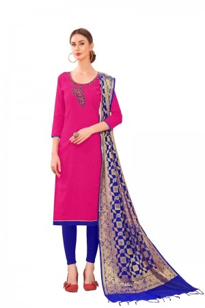 Rani Pink Slub Cotton dress material