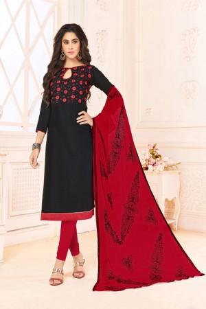 Black  Slub Cotton(with choli work) dress material
