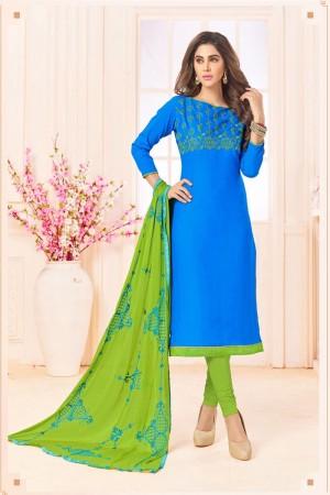 Sky blue  Slub Cotton(with choli work) dress material