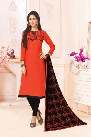 Orange  Slub Cotton(with choli work) dress material
