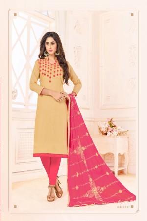 Light Orange  Slub Cotton(with choli work) dress material