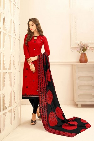 Red Lakda Jacquard dress material