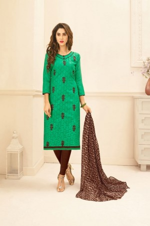 Light green Lakda Jacquard dress material