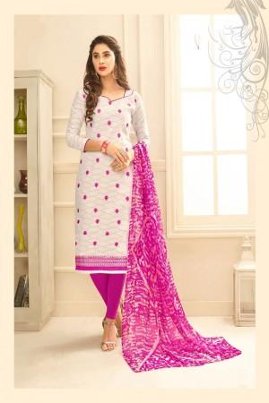 White Lakda Jacquard dress material