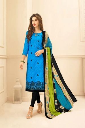 Sky blue Lakda Jacquard dress material