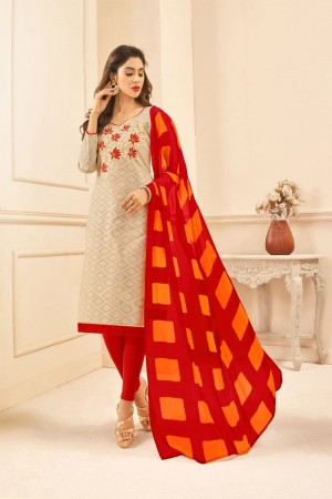 Cream Lakda Jacquard dress material
