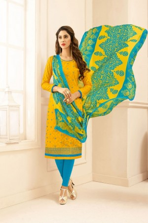 Yellow Lakda Jacquard dress material