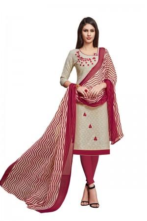 Cream Jacquard dress material