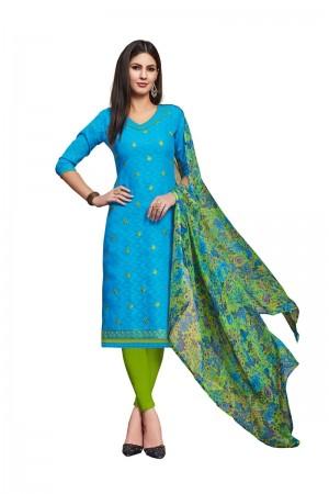 Sky Blue Jacquard dress material