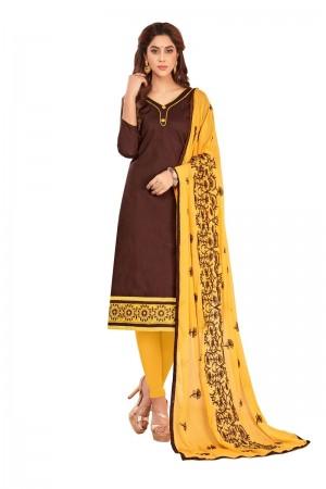 Brown Slub Cotton dress material