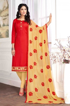 Red Cotton buti dress material