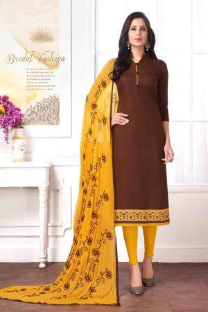 Brown Cotton buti dress material