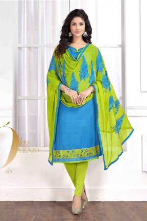 Sky blue Cotton buti dress material