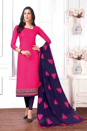Pink Cotton buti dress material