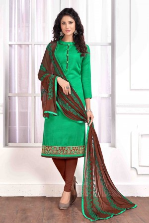 Light green Cotton buti dress material