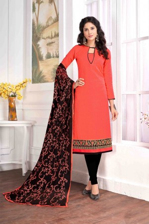 Orange Cotton buti dress material