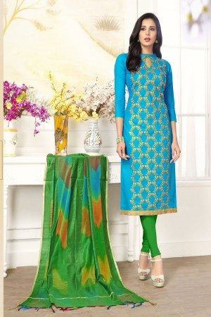 Sky blue Pc Cotton dress material