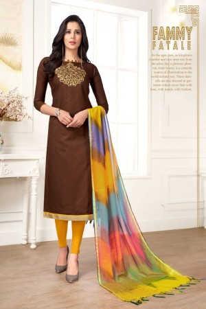 Brown Pc Cotton dress material