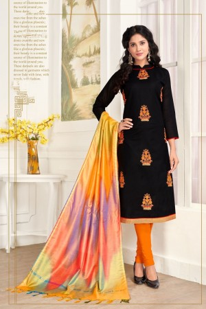Black Pc Cotton dress material