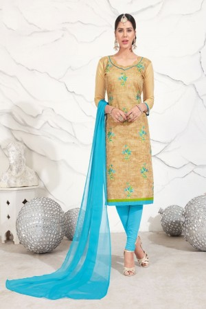 Cream Chanderi dress material