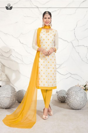 Off White Chanderi dress material