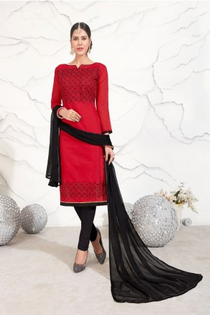 Red Chanderi dress material