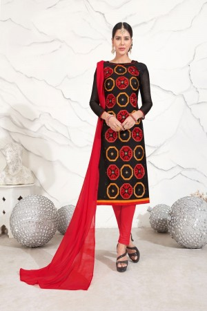 Black Chanderi dress material