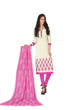 Off White Chanderi dress material
