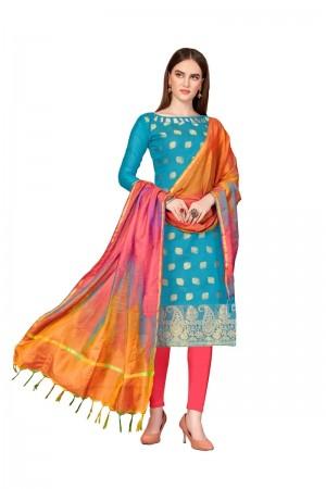 Sky Blue Banarasi dress material