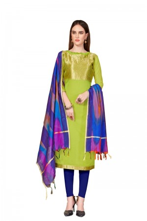 Parrot Green Banarasi dress material